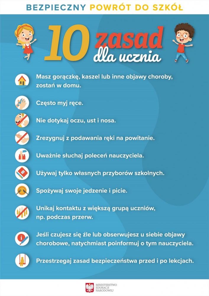 Bezpieczny powrót do szkół - 10 zasad dla uczniów!